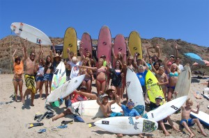Variety of surfboards used by our surf campers.